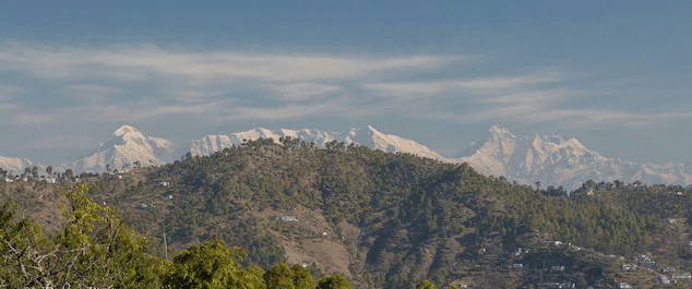 View of Himalayas from Kripal House, A homestay in Kasar Devi